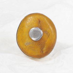 Bague Ambre (Afrique) ou Copal brute ronde sur pivot