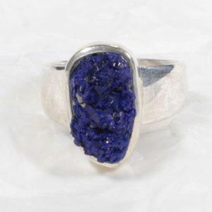 Bague Azurite (Afrique) bleue naturelle brute