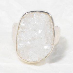 Bague Cristal de roche (Brésil) brute, rectangle en géode