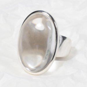 Bague Cristal de roche (Brésil) grand ovale rond transparent