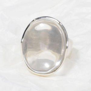 Bague Cristal de roche (Brésil) ovale moyen transparent