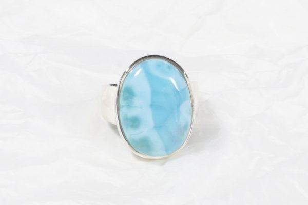 Bague Larimar (République Dominicaine) grand ovale