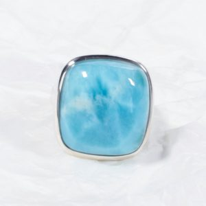Bague Larimar (République Dominicaine) grand carré